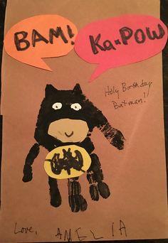 Batman handprint Birthday card 2016