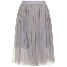 Lydia Rose Bright Lilac Grey Tulle Ballerina Midi Skirt found on Polyvore featuring skirts, bottoms, grey, gray midi skirt, calf length skirts, stretch skirt, knee length tulle skirt and tulle ballerina skirt