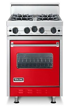 Viking makes a surprisingly sweet 24-inch-wide stove. It comes in a range of colors (ha ha, pun: range?) including this hot little red number.