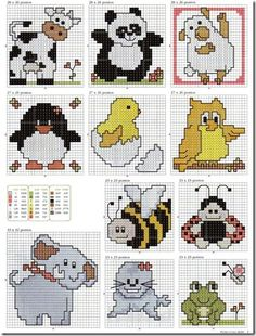 cross stitch cross stitch small animals- baby quilt