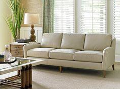 Coconut Grove Leather Sofa in Cream #TommyBahamaHome #Tropical #LeatherFurniture
