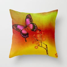 le papillon Japonais  Throw Pillow by ganech - $20.00