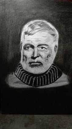 Ernest Hemingway  Bleistiftzeichnung