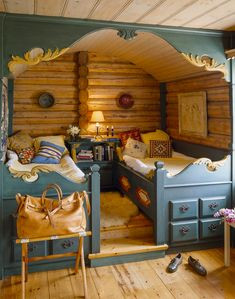 This sweet built-in dual bed featuring Norwegian craftsmanship is found in a…