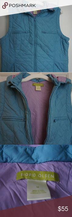 Sigrid Olsen Blue/Lilac Vest Beautiful Vest. Great Condition. Never Worn. Very Soft. Blue Exterior. Lilac Interior. Two Front Pockets. Detachable Hood. Size M. Sigrid Olsen Jackets & Coats Vests