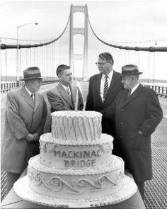 The Mackinac Bridge in Michigan was opened. It was the longest suspension bridge in the world when it opened and is the fifth longest in the world today. Michigan Travel, State Of Michigan, Detroit Michigan, Northern Michigan, Lake Michigan, Mackinac Bridge, The Mitten State, Mackinaw City, Upper Peninsula