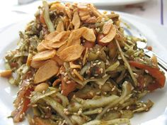 Laphet thohk - pickled tea leaf salad, Myanmar