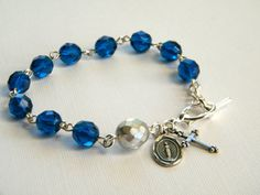 Catholic Rosary Bracelets   Rosary Bracelet, Catholic Rosary Bracelet, Blue Rosary Bracelet, Czech ...