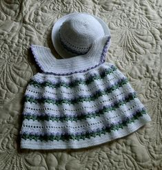 Baby Dress and Bonnet 18 to 24 mo Croche   Craftsy
