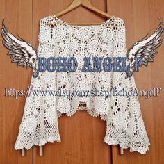 Cropped crochet boho top long bell sleeves blouse tunic lace sexy boho hippie gipsy ❤️FABULOUS!!!!!🙌👌🏻👌🏻👌🏻✨✨✨😍😍😍 ♥❤A nice gift for yourself or a dear person! Beautiful crochet lace top with long wide sleeves! Any other color is available, but please note that BLACK or any DARK