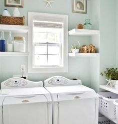 Sherwin Williams Rainwashed Blue Green Laundry Room - love this tranquil wall color Hm Deco, Rainwashed Sherwin Williams, Blue Laundry Rooms, Small Laundry, Laundry Area, Laundry Sorting, Laundry Room Colors, Laundry Tips, House Of Turquoise