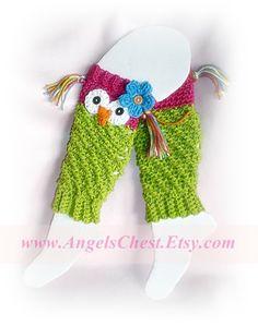 Crochet Owl Leg Warmers
