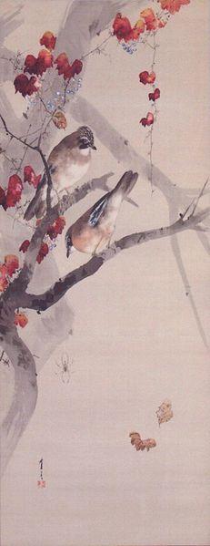 File:Watanabe Seitei (1850-1918) Autumn, Jays on Japanese Ivy, painting on silk, c. 1891.jpg