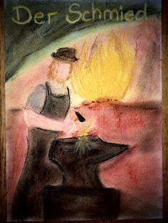 #Waldorf #waldorfschool #waldorfschule #schmied #blacksmith #tafelbild #3rdgrade  #handwerkskunst #handwerker Grade 3, Blacksmithing, Painting, Art, Dibujo, Kunst, Pictures, Blacksmith Shop, Art Background
