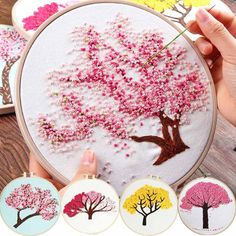 DIY Embroidery Plants Cherry Tree Handwork Needlework for Beginner Cross Stitch kit Ribbon Painting. Title: DIY Embroidery Plants Cherry Tree Handwork Needlework for Beginner Cross Stitch French Knot Embroidery, Flower Embroidery Designs, Creative Embroidery, Hand Embroidery Stitches, Embroidery Hoop Art, Ribbon Embroidery, Cross Stitch Embroidery, Diy Embroidery Patterns, Art Minecraft