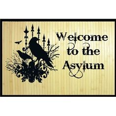 Tattoo Flash Art Vintage Welcome To The Asylum Gothic Floor Mat Steamp