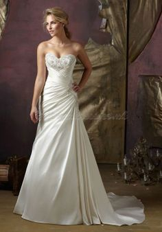 Satin A-line Sweetheart With Beads And Criss Cross Bodice Wedding Dress