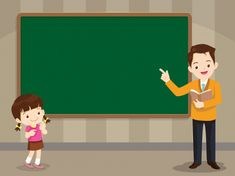 Teacher and studen girl standing in front of chalkboard with copy space for your text. Background For Powerpoint Presentation, Background Powerpoint, Vector Background, Elementary Education, Education Quotes For Teachers, Teacher Cartoon, Boarder Designs, High School History, Math Work