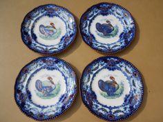 4 Old Antique Flow Blue Lincoln Bisto England Turkey Thanksgiving Dinner Plates