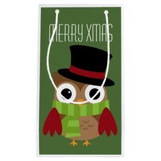 Christmas Owl Scrooge Cute Gift Bag | I am in love with these cute owl holiday designs. This one is Scrooge, isn't he cute?