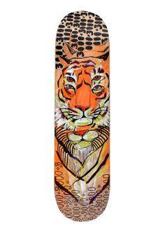 For What It's Worth   Anya Mielniczek #art #tiger #skateboard #deck #illustration #endangered #mixedmedia