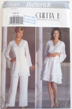 Sewing Pattern Butterick 3685  Women's Petite Tunic, flared skirt and wide-legged pants