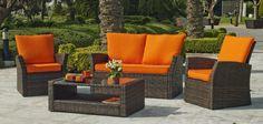 Salon de jardin résine Alpes 4 places avec coussins coloris orange