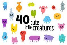 Cute tiny monsters by Irina Mir on Creative Market Monster Illustration, Line Illustration, Character Illustration, Kids Branding, Branding Design, Logo Design, Simple Character, Character Design, Posca Marker