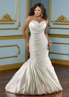 Sexy Mermaid Sweetheart Chapel Train Satin Lace Up Plus Size Wedding Dress