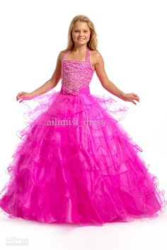 Wholesale 2013 New Beads amp; Bow Halter Princess Ball Gown Little Girls Kids Pageant Dress Flower Girl Dress, Free shipping, $74.12-92.04/Piece | DHgate