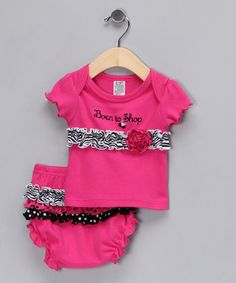 Pink Born to Shop Tee & Ruffle Diaper Cover