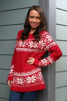 """Coco & Simone - """"Snowed In"""" Red Snowflake Sweater www.holidayinnovations.com"""