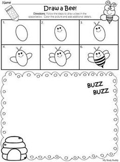 Art Center: Drawing Step-by-Step Freebie a bee Art Center: Drawing Step-by-Step Freebie (Directed Drawing Freebie) Kindergarten Drawing, Kindergarten Art Projects, Drawing For Kids, Art For Kids, Drawing Drawing, Drawing Ideas, Gcse Art Sketchbook, Directed Drawing, Character Design Girl