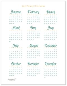 FREE Printable 2017 Yearly Calendar Printable in full size.