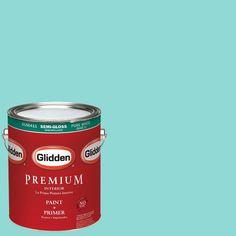 Glidden Premium 1-gal. #HDGB15 Echo Lake Aqua Semi-Gloss Latex Interior Paint with Primer