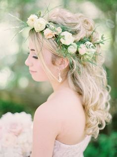 Blush and Ivory Floral Crown by Akiko Flroal Artistry Inc.  Photo Credit:  Milton Photography #phalaenopsis #orchids #blush #gold #blushandgold #ivory #tulips #roses #peonies #hydrangea #wedding #flowers #flowercrown #weddinghair #hair