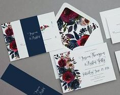 Rustic Merlot and Navy Floral Wedding Invitations,Boho Navy Floral Wedding Invites,Burgundy and Navy Floral Wedding Invitation,Winter Floral