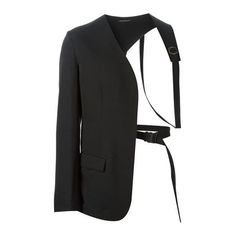 Black wool asymmetric harness blazer from Yohji Yamamoto featuring a collarless design, a front flap pocket, long sleeves and button cuffs. Set Fashion, Look Fashion, Fashion Details, Korean Fashion, Autumn Fashion, Fashion Outfits, Womens Fashion, Yohji Yamamoto, Mens Designer Blazers