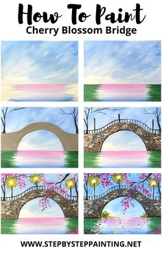 Canvas Painting Tutorials, Acrylic Painting Lessons, Acrylic Art, Simple Canvas Paintings, Diy Canvas Art, Bridge Painting, Bridge Drawing, Landscape Drawings, Step By Step Painting