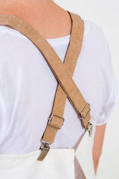 apron leather straps with clips back view