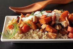 Roasted Root Vegetables on Quinoa with Yogurt Sauce. Vegan option: use non-dairy yogurt.