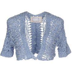 Elisa Cavaletti Cardigan ($76) ❤ liked on Polyvore featuring tops, cardigans, pastel blue, elisa cavaletti, blue top, cardigan top, short sleeve tops and blue short sleeve top