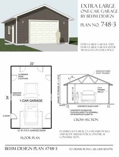 Our extra-large, oversized 1 Car garage even has an oversized garage door - lots of space for all kinds of projects