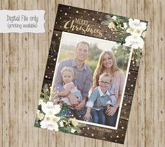 Weihnachtskarte, Weihnachtskarten Foto, Foto-Weihnachtskarten, Urlaub Karten, rustikale Holz, White Floral, Glitter Weihnachten