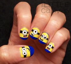 The Little Canvas: Despicable Me Minion Nails + Tutorial!--me & syd are going to see this, I have to do my nails like this, maybe even one purple one for the other minions So Nails, How To Do Nails, Cute Nails, Pretty Nails, Hair And Nails, Nails For Kids, Girls Nails, Minions, Minion Rush