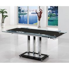Rihanna extending dining table in black glass - 8275 dining tables and chairs, modern & contemporary. Extendable Glass Dining Table, Used Dining Table, Black Glass Dining Table, Glass Table, Table And Chairs, Dining Chairs, Dining Room, Decor Interior Design, Interior Decorating