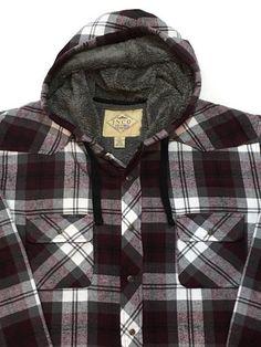 JNCO Flannel Shirt Jacket XXL Hoodie Lumberjack Plaid Sherpa Lining Pearl Snaps…