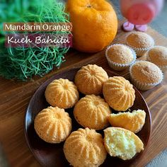 My Mind Patch: Mandarin Orange Mini Spongecake (Kueh Bahulu) Sponge Cake Recipes, Cupcake Recipes, Baking Recipes, Snack Recipes, Snacks, Tangerine Recipes, Mini Eggs Cake, Steamed Cake, Cupcakes