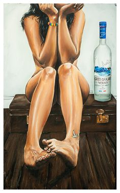 JEREMY WORST Naked Goose Grey Goose Original Sexy by JeremyWorst art painting drawing print jack daniels she squats bro sexy nude body workout gallery art