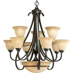 Progress Lighting Torino Collection 9-Light Forged Bronze Chandelier-P4418-77 - The Home Depot
